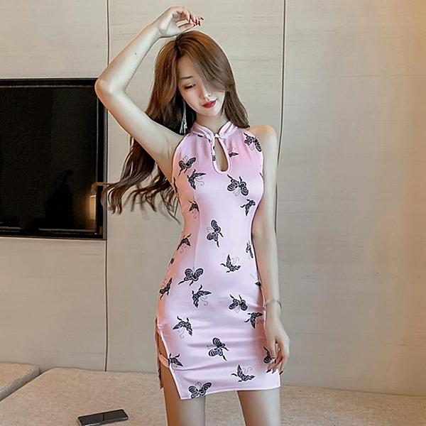 旗袍年輕款少女日常復古印花收腰性感高開叉改良包臀洋裝 淇朵市集