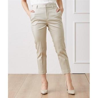 夏のオフィスに最適♪裾スリットストレッチテーパードアンクルパンツ (レディースパンツ)Pants