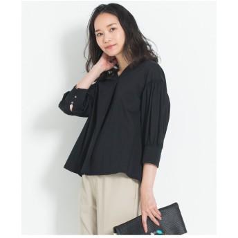 自由区 【洗える】ボリューム袖ブラウス Tシャツ・カットソー,ブラック系