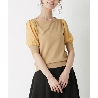 シフォンボリューム袖切替シャリ感ニット (ニット・セーター)(レディース)Knitting, Sweater, テレワーク, 在宅, リモート