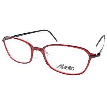 SILHOUETTE眼鏡 奧地利輕盈鈦系列(透紅-霧黑) #ST1554 01 6057