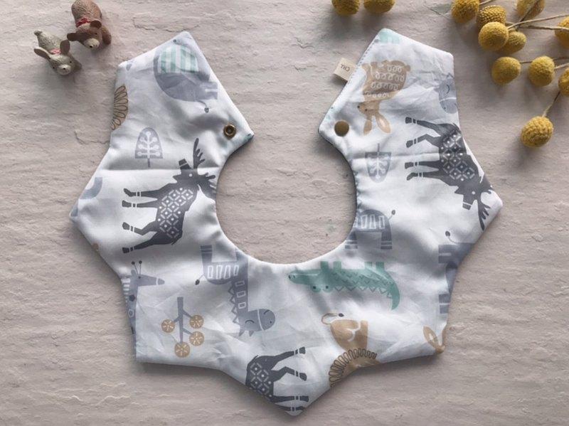 莫蘭迪先生的動物園     360度雙面手工純棉六層紗星星圍兜口水巾