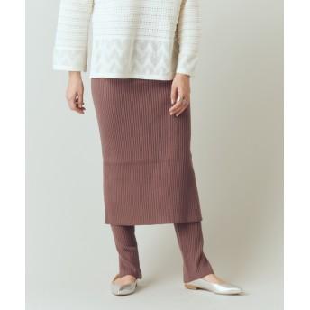 OUTLET(アウトレット) レディース 【SHENERY】リブニットレギンス付きスカート ブラウン