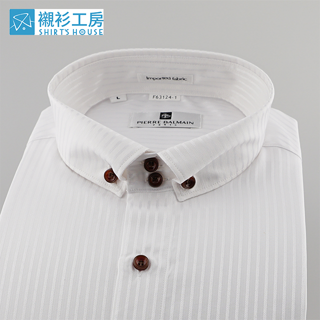 皮爾帕門pb白色緹花立領式釘釦領、領子加兩顆釦、文青風合身長袖襯衫 63124-01 -襯衫工房