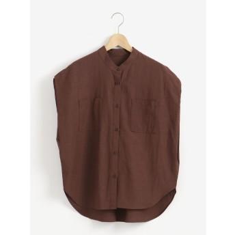 Perle Peche ノーカラーポケットクロスシャツ(ブラウン)