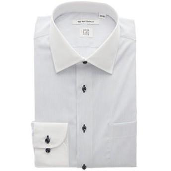【THE SUIT COMPANY:トップス】▽【COOL MAX】クレリック&ワイドカラードレスシャツ ピンストライプ 〔EC・FIT〕