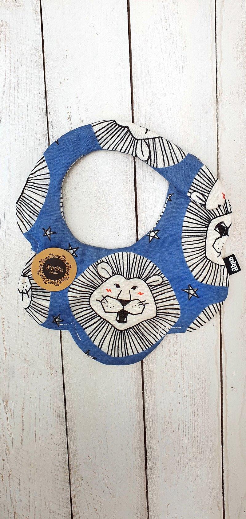獅子王-藍-100%cotton八層紗雙面隨性圓弧圍兜口水巾