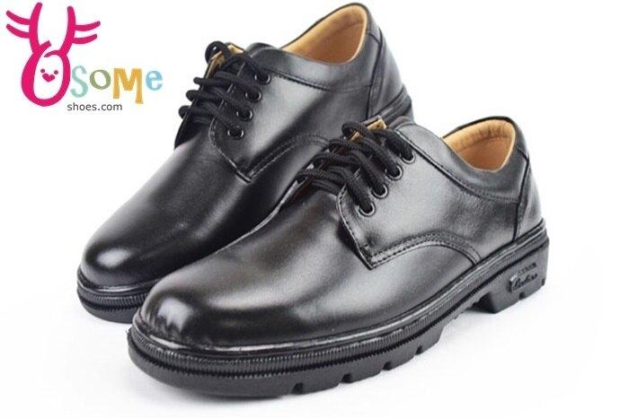 全真皮學生皮鞋 台灣製 綁帶款 男皮鞋C4885#黑 奧森