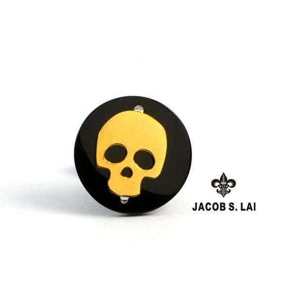 JSL 316L白鋼真空鍍鈦 骷髏耳環 珠寶鋼 醫療鋼耳環 抗敏 J4-13-14