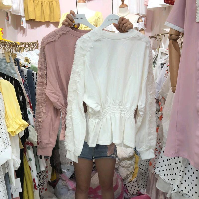 韓系甜美蕾絲長袖縮腰傘擺上衣cntop