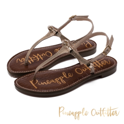Pineapple Outfitter 真皮復古感金屬環T字帶平底涼鞋-金銅
