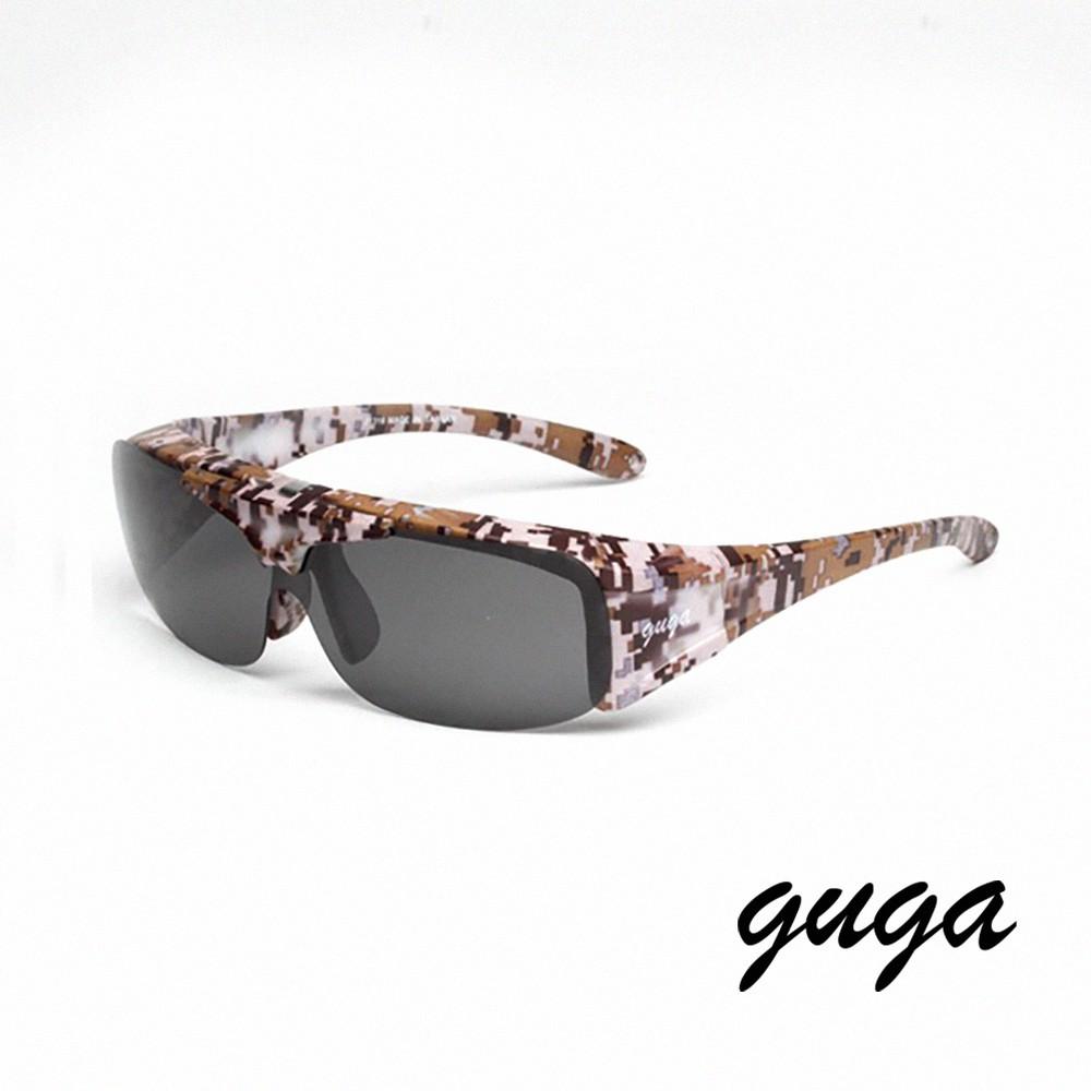 【GUGA】|運動款|都會叢林迷彩棕可掀式偏光掛套式運動太陽眼鏡/墨鏡(J1316-M14)