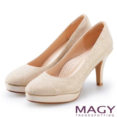 MAGY 閃爍鑽石金屬花嫁 女 高跟鞋 金色