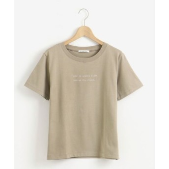 le. coeur blanc/ルクールブラン PoemロゴプリントTシャツ カーキグリーン 38