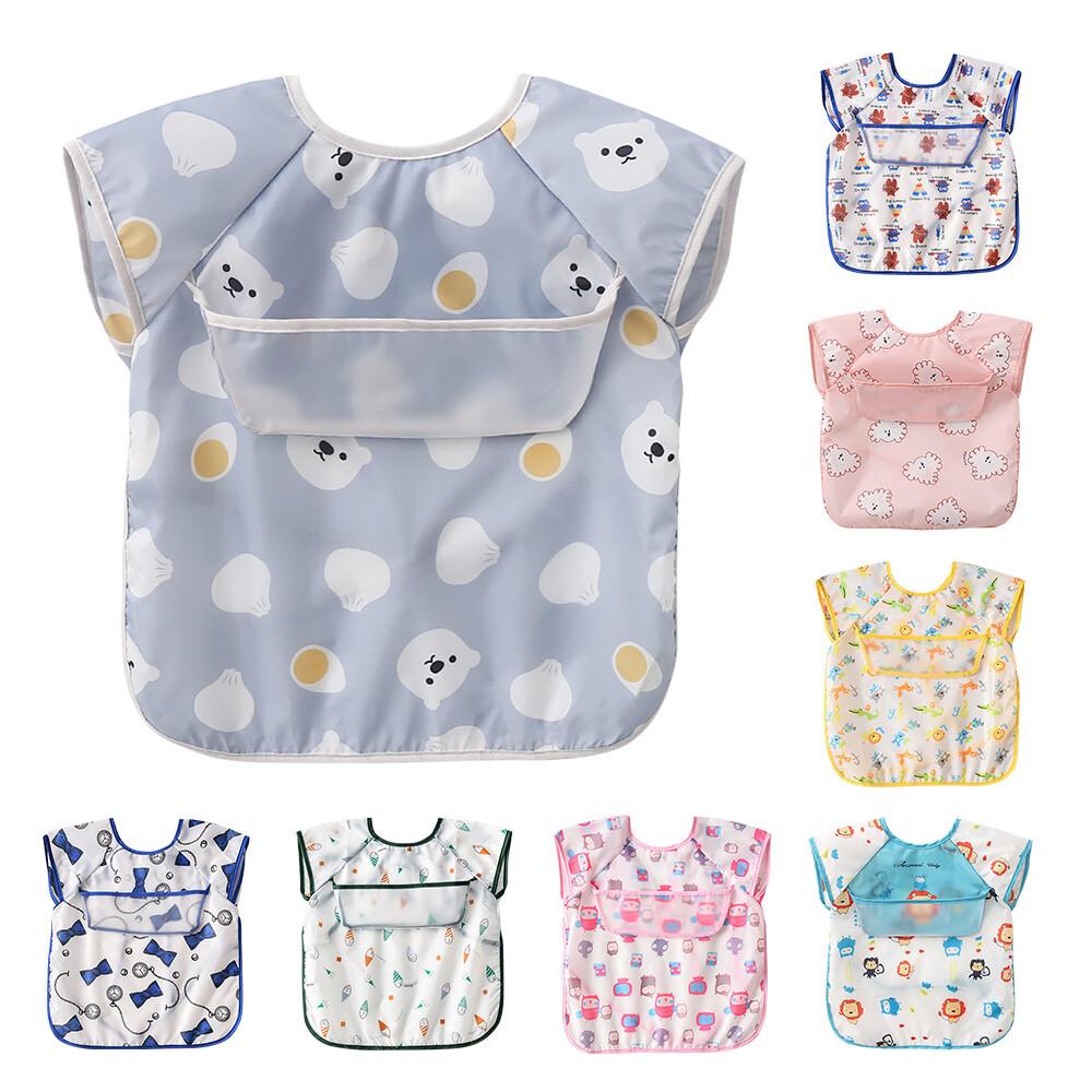 5件入嬰兒口水巾圍兜 寶寶無袖防水開口接飯飯兜 -b2009