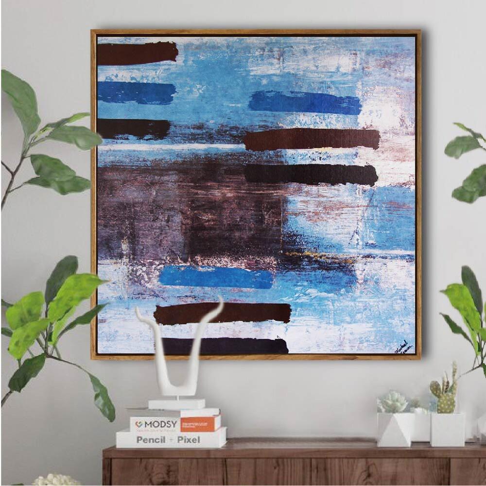 tromso北歐抽象板畫有框畫-wa049寫意藍調/木框 油畫 質感生活 時尚室內設計