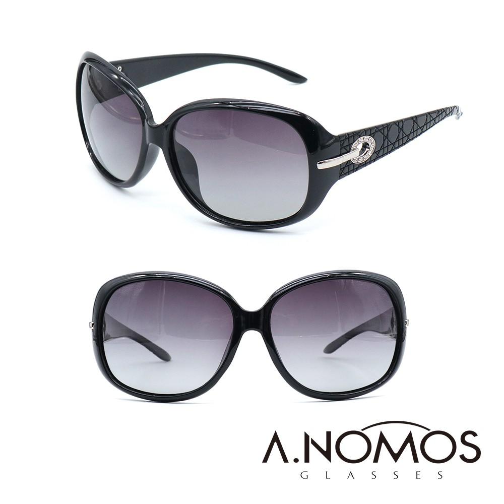 【A.NOMOS】高雅鱷魚皮革水鑽設計款偏光太陽眼鏡(6214)