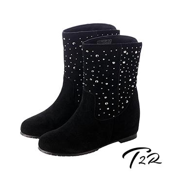 【韓國T2R】奢華水鑽真皮內增高短靴7cm 黑(5600-0081)