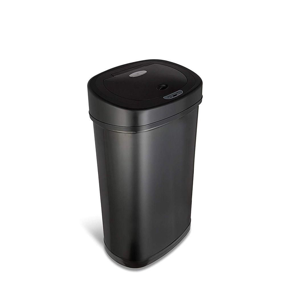 美國NINESTARS 時尚不銹鋼感應垃圾桶50L 尊爵黑