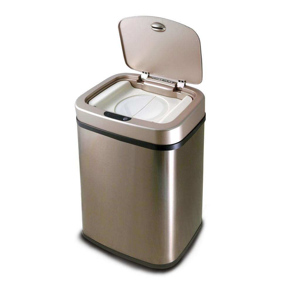 美國NINESTARS 感應式尿布防臭垃圾筒 NPT-12-5 香檳金