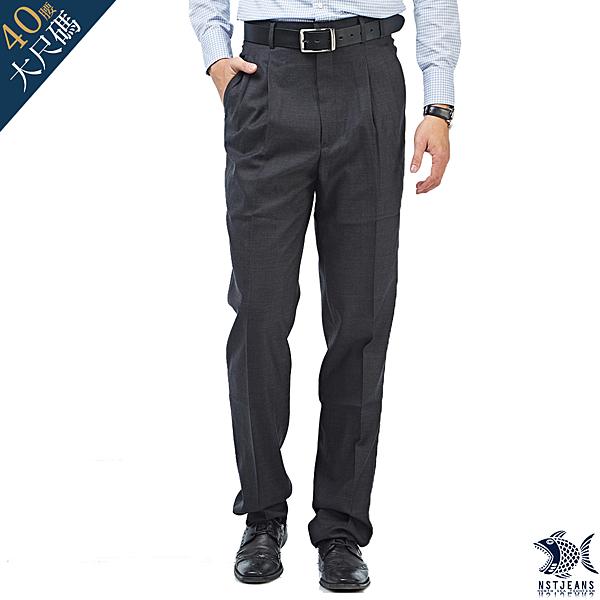 【NST Jeans】大尺碼 羊毛 白色織法 義式 男打摺西裝褲(中高腰寬版) 001(7267) 中老年/台灣製/紳士