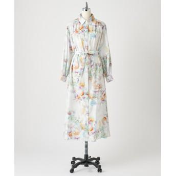 Loungedress(ラウンジドレス) レディース 【Awfully】アブストフラワーシャツワンピース ホワイト