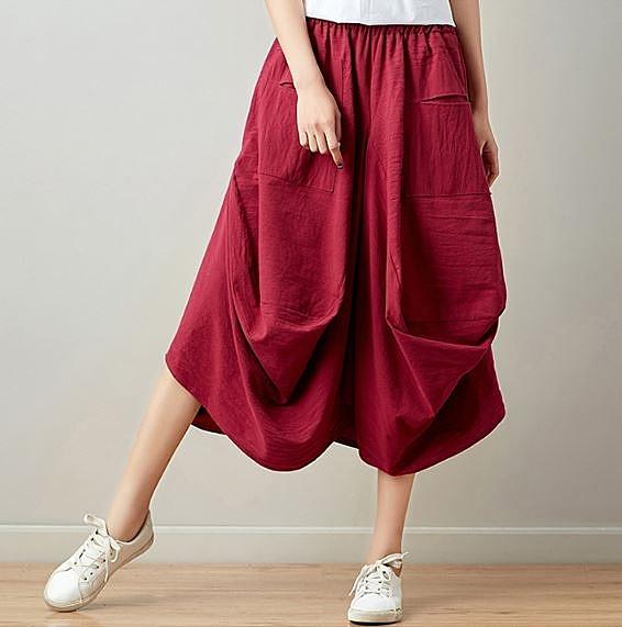 2020新款民族風寬鬆棉麻燈籠裙 半身裙~6色