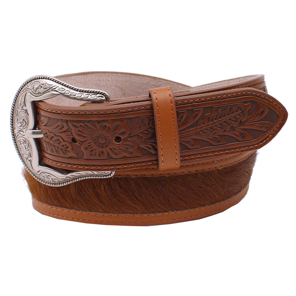3D Boom Town - Men's Hair-On Leather Belt