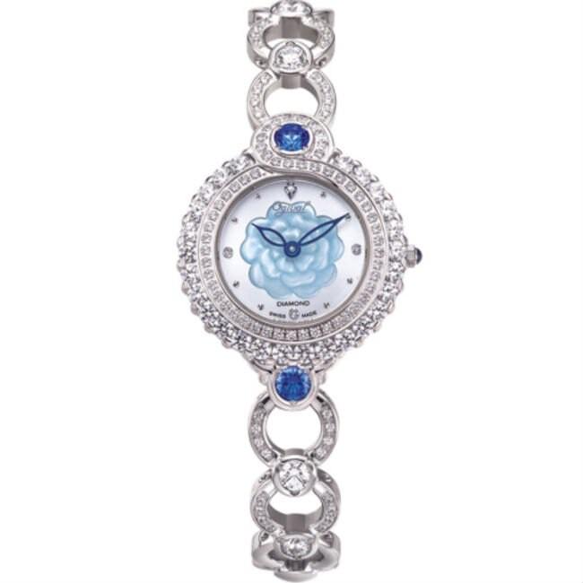 愛其華 Ogival (305-35DLW) 山茶花天然寶石腕錶-海洋藍 / 30mm