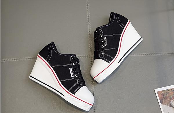 6863+1 愛麗絲的最愛 韓版新款~青春洋溢厚底帆布鞋/厚底帆布鞋/楔型帆布鞋/坡跟帆布鞋 (現貨+預購)