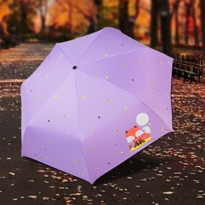 【雙龍牌】狐狸降溫13度黑膠自動開收傘抗UV晴雨傘B6290NB1-水晶紫