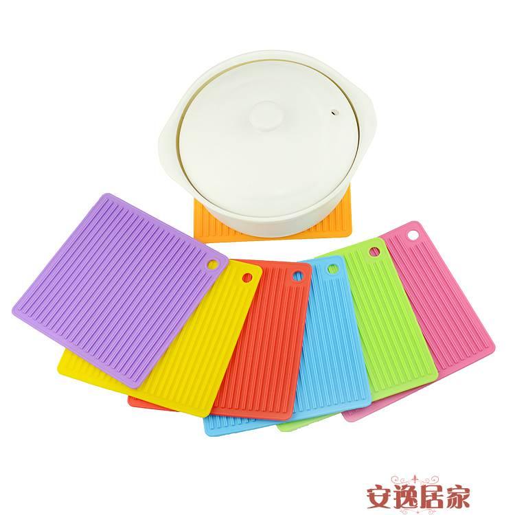 方形硅膠防滑紋鍋墊 硅膠餐墊 耐高溫桌墊 隔熱防燙墊安逸居家