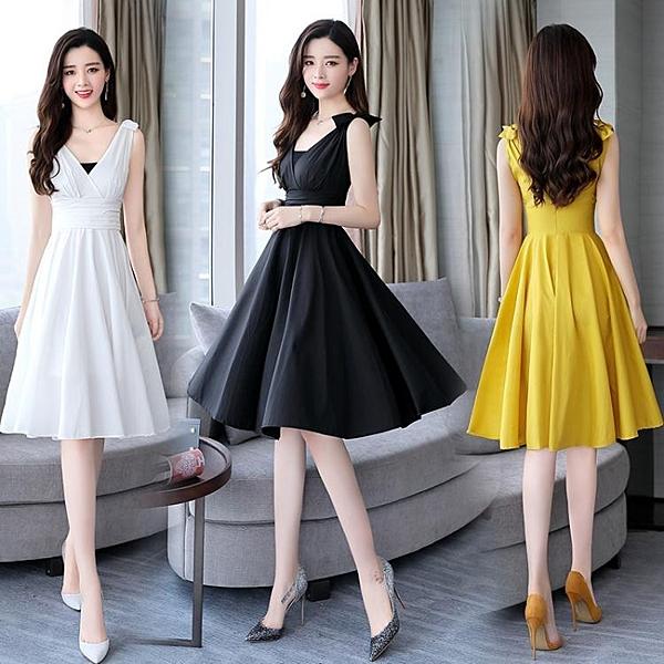 無袖洋裝女夏季中長款年新款修身氣質時尚V領背帶裙子 淇朵市集