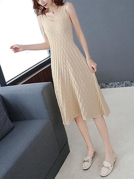針織打底裙女新款裙子無袖吊帶背心洋裝 淇朵市集