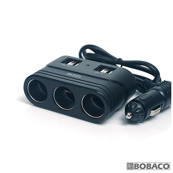 【大功率三孔插座車充+4 USB】車用充電器 車用快充 車充 車用擴充器 多孔電源擴充 (PNS-S25)