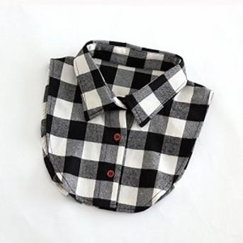付け襟 シャツ風 ブロック チェック柄 男女兼用 フェイク (ホワイト×ブラック)