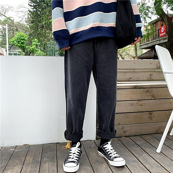 [S-5XL] 大碼九分牛仔褲女高腰寬鬆直筒闊腿老爹長褲 - 風尚3C