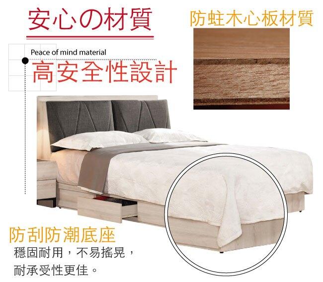 【綠家居】伊妮 現代5尺棉麻布雙人抽屜床台組合(床頭箱+三抽床底+不含床墊)