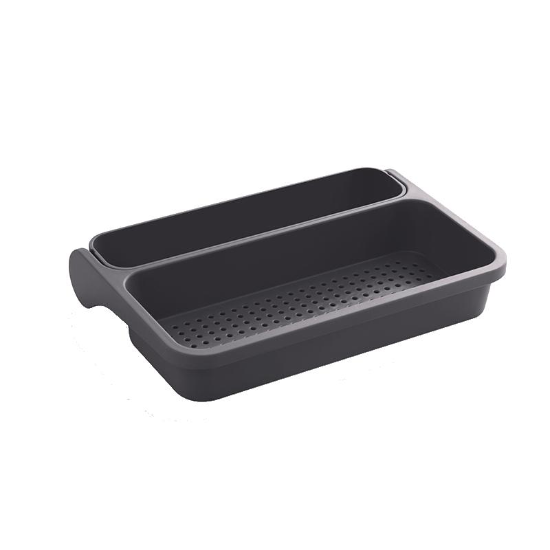 現貨【免打孔/可摺疊】省空間洗菜藍  可瀝水 廚房雜物盒 洗碗槽置物盒-綠/咖/白/黑【AAA6356】