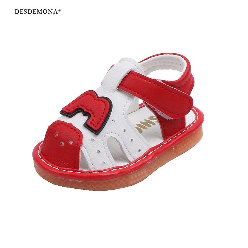 夏季新款嬰幼兒寶寶涼鞋女童包頭軟底學步鞋男童叫叫鞋啾啾鞋