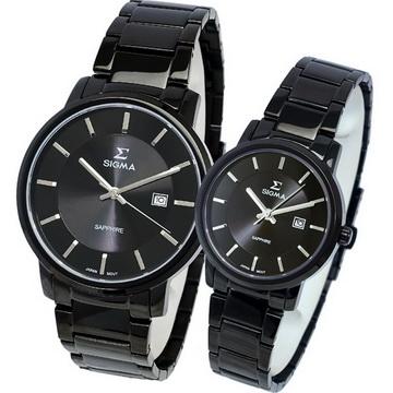 【SIGMA】簡約時尚 藍寶石鏡面情人對錶 1122M-B  1122L-B 黑鋼 平價實惠的好選擇
