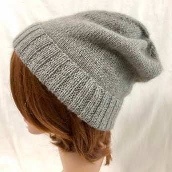 NZポッサム・メリノ・シルク 薄くて軽いシンプルメリヤス帽 スレートグレー