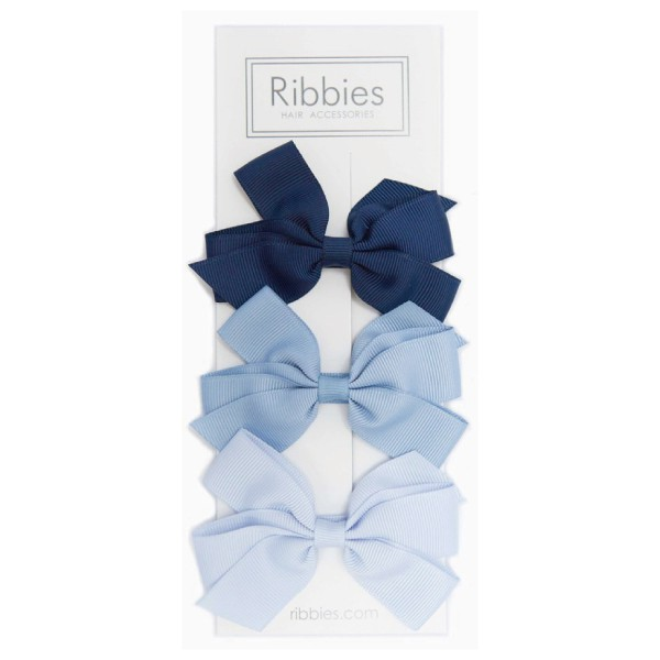 英國 Ribbies 經典中蝴蝶結|髮飾|髮夾3入組-藍色系列【麗兒采家】