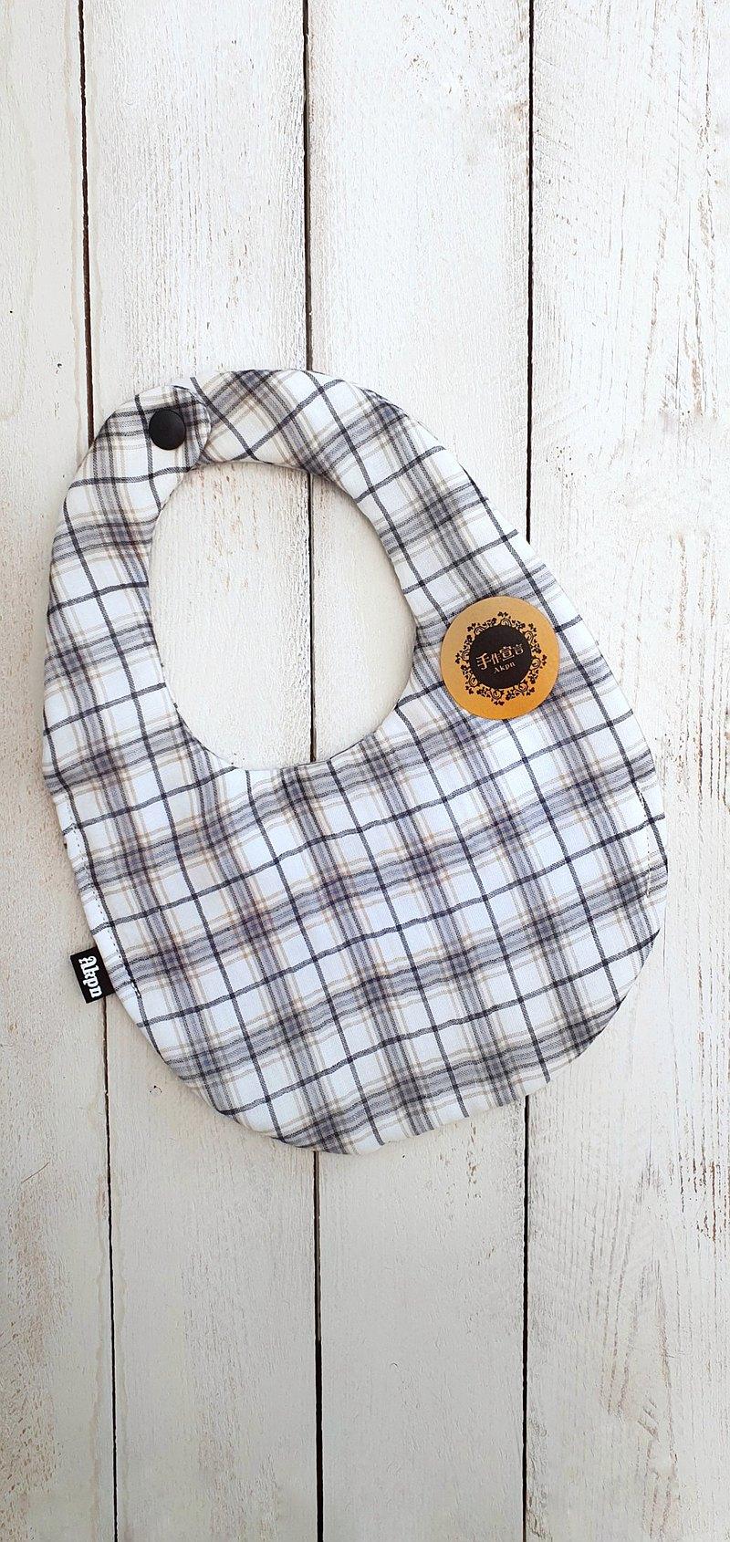 格紋-八層紗100%cotton蛋型圍兜.口水巾