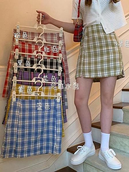 夏季新款chic小香風閨蜜裝高腰bm裙子A字jk格子半身裙短裙女
