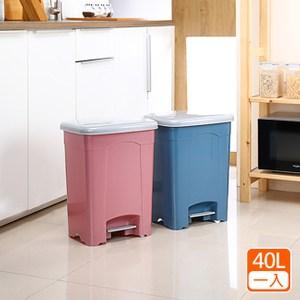【綠地球】『采漾』40L踏式垃圾桶(一入)藍*1