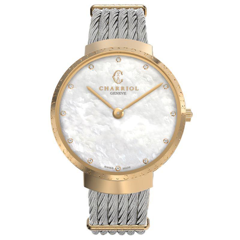 CHARRIOL 夏利豪 (ST34CY.560.014) Slim系列 金色鑽石經典鋼索腕錶 /珍珠母貝面 34mm