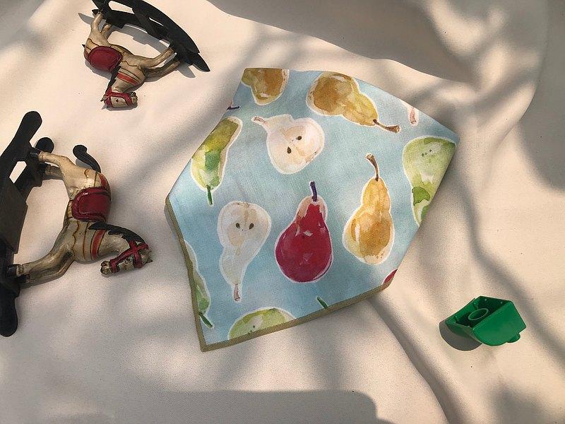 西洋梨/小橘子/雙面口水巾/手繪獨家開發印花