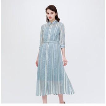 【LOVELESS:ワンピース】【otona MUSE掲載商品】シアーストライプ ドレス