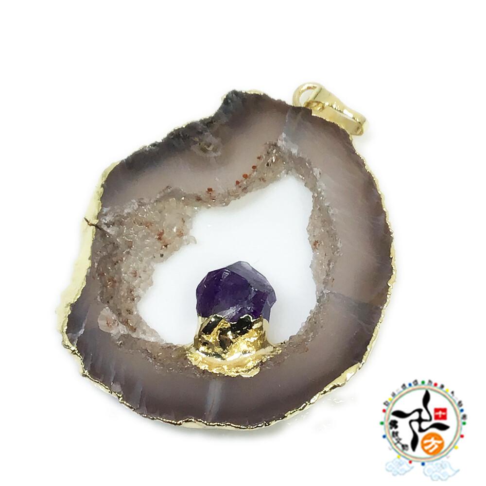 瑪瑙水晶+紫晶墜飾 十方佛教文物